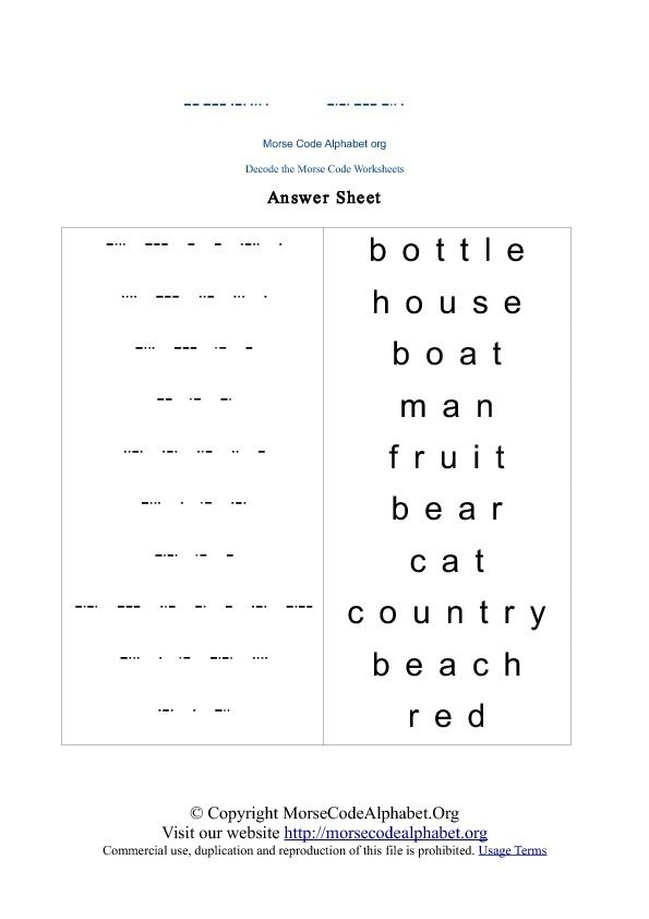 Morse Code Decode Quiz Educating little people Pinterest - sample morse code chart