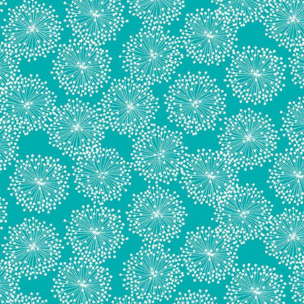 Cotton Quilt Fabric Brigitte Windblown Dandelion Turquoise Blue  - product image
