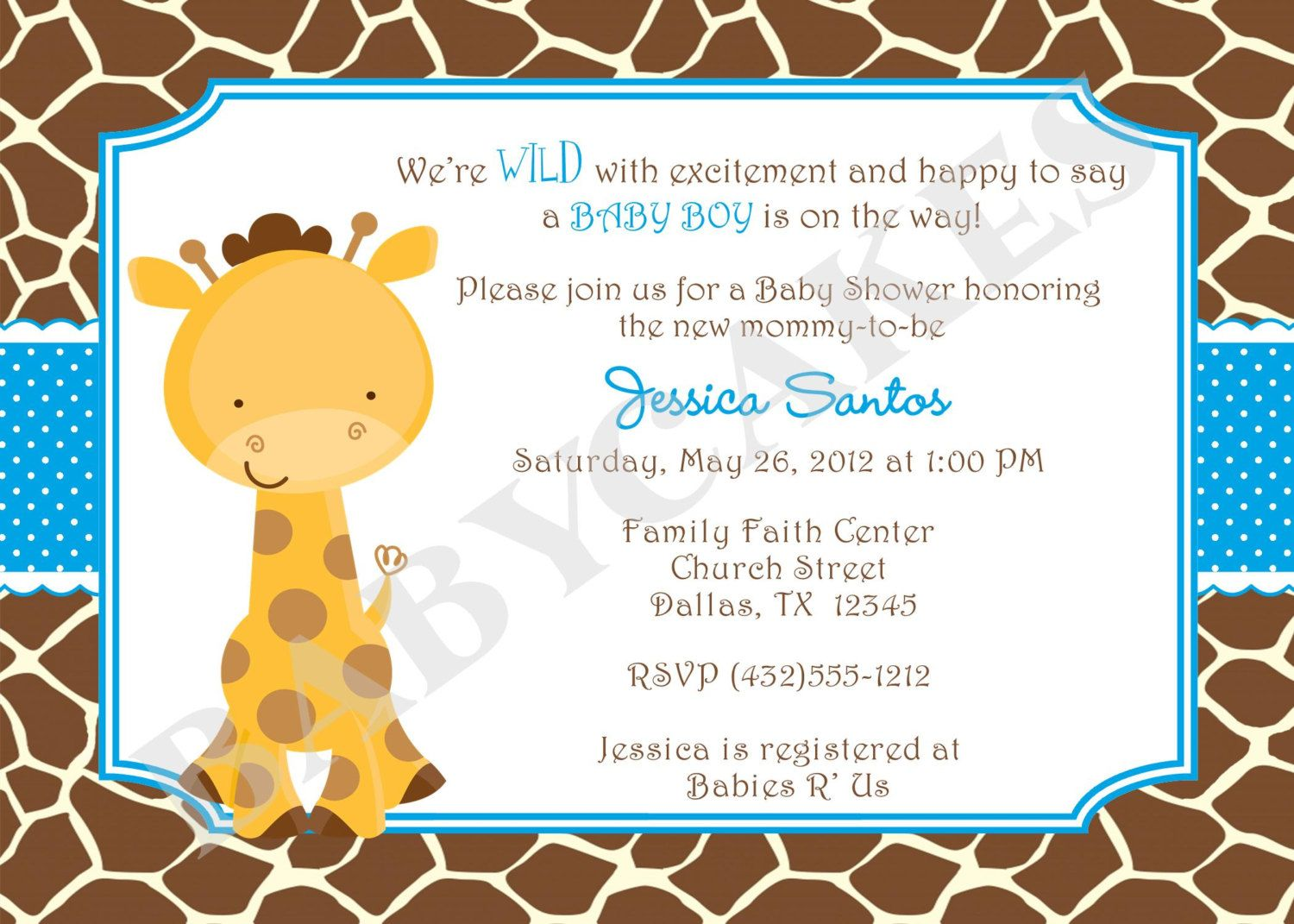 Giraffe Baby Shower Invitation Baby Sprinkle - twins - DIY Print ...