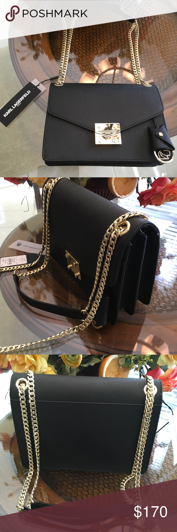 5230fd689b23 Karl Lagerfeld Corrine Saffiano Leath Shoulder Bag Karl Lagerfeld Paris