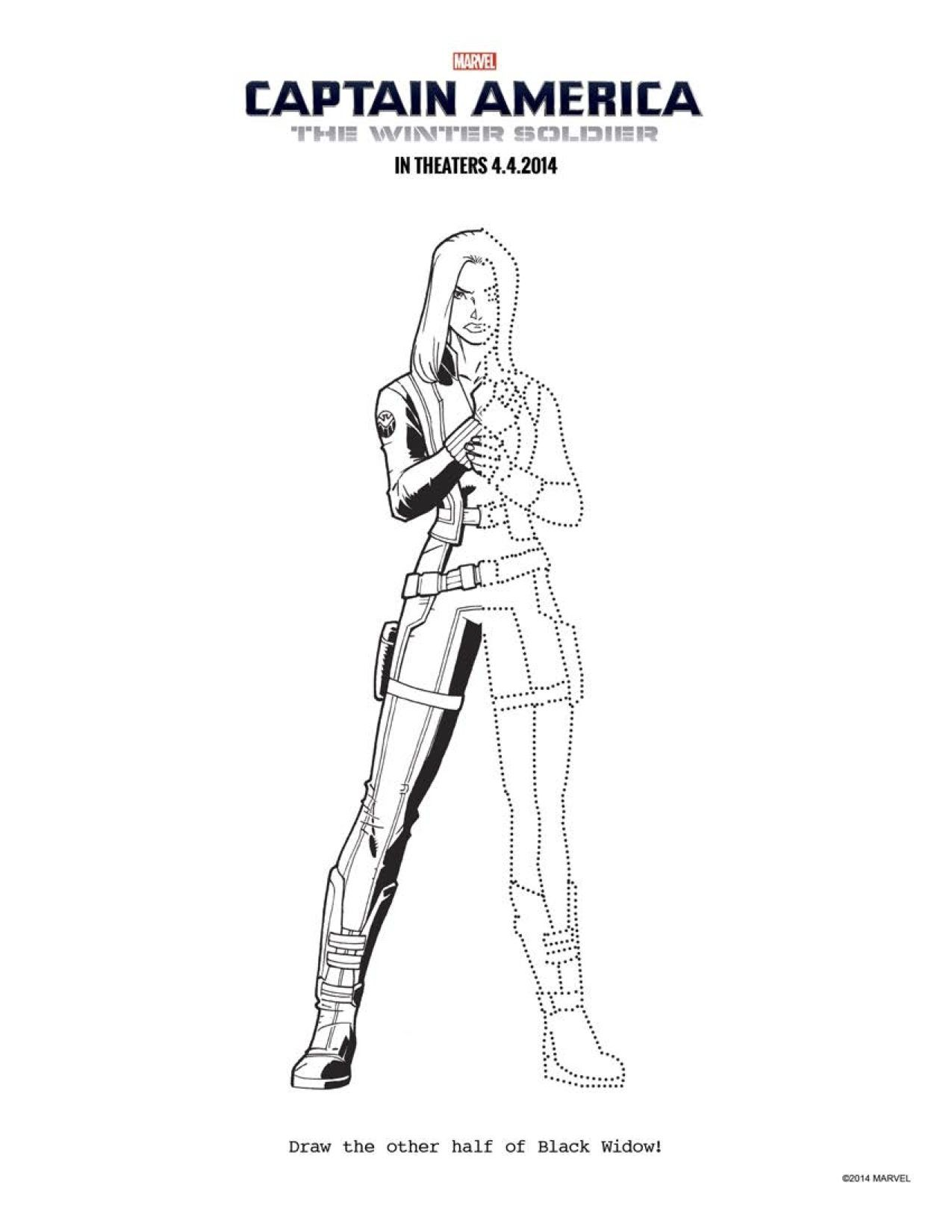 14 CAPTAIN AMERICA THE WINTER SOLDIER Coloring Sheets To Keep Everyone Occupied Until April 4th CaptainAmerica Black Widow