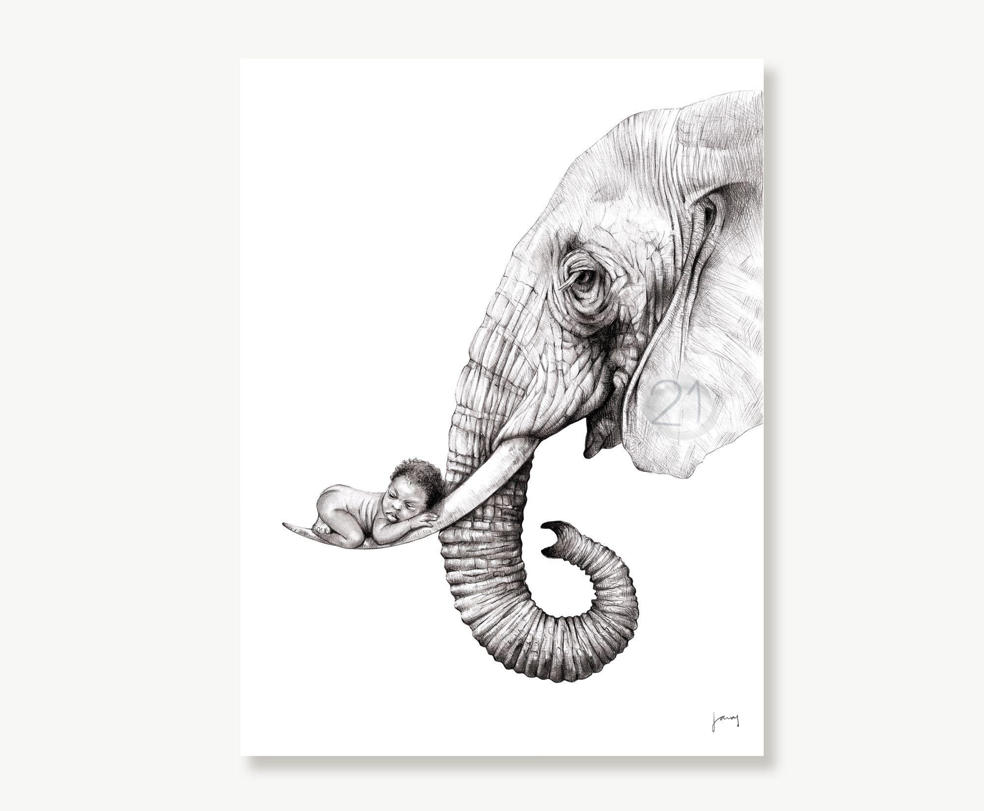 Elephant And Baby Art Drawing Print Animal And Child Etsy Elephant Drawing Elephant Art Animal Art