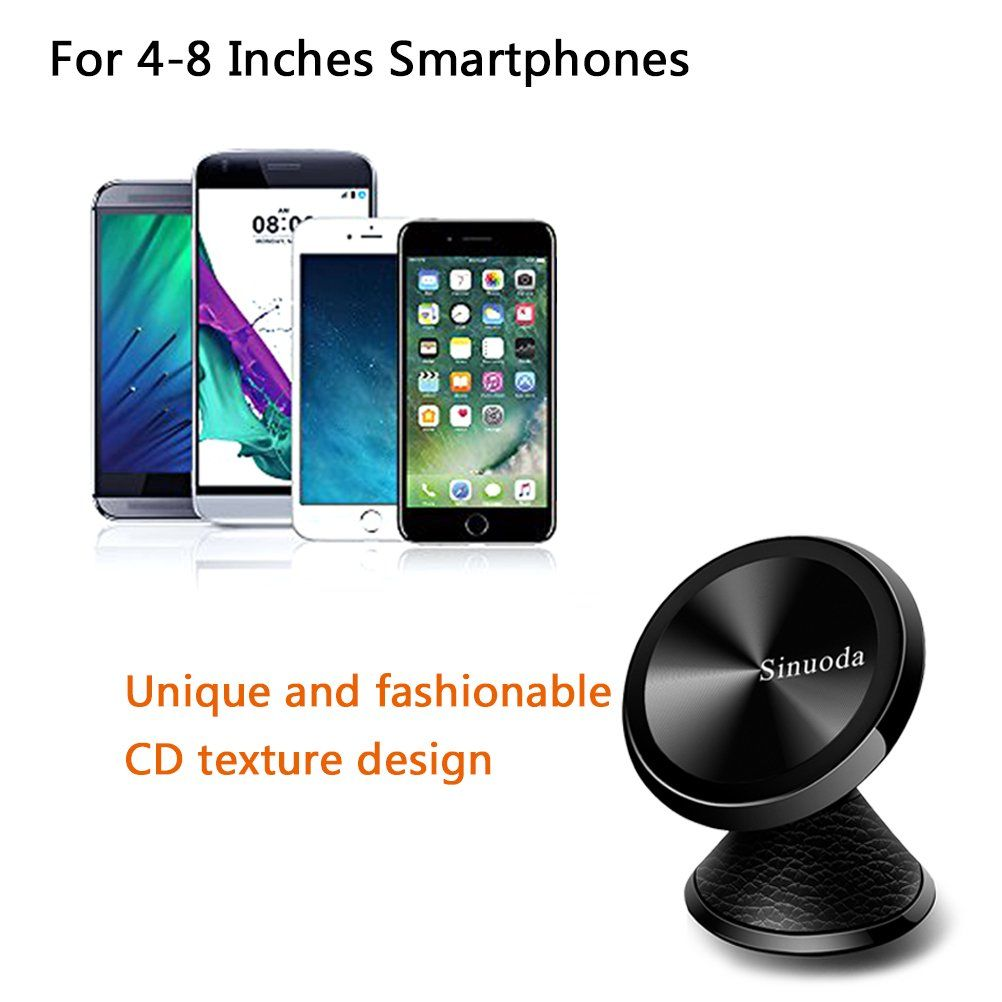 Samsung Magnetic Phone Car Mount Holder GPS Universal 360 Rotation Magnetic Car Phone Holder Stand Leather Black Android Smartphones Metal Mobile Phone Holder For Car Dashboard Mount for iPhone