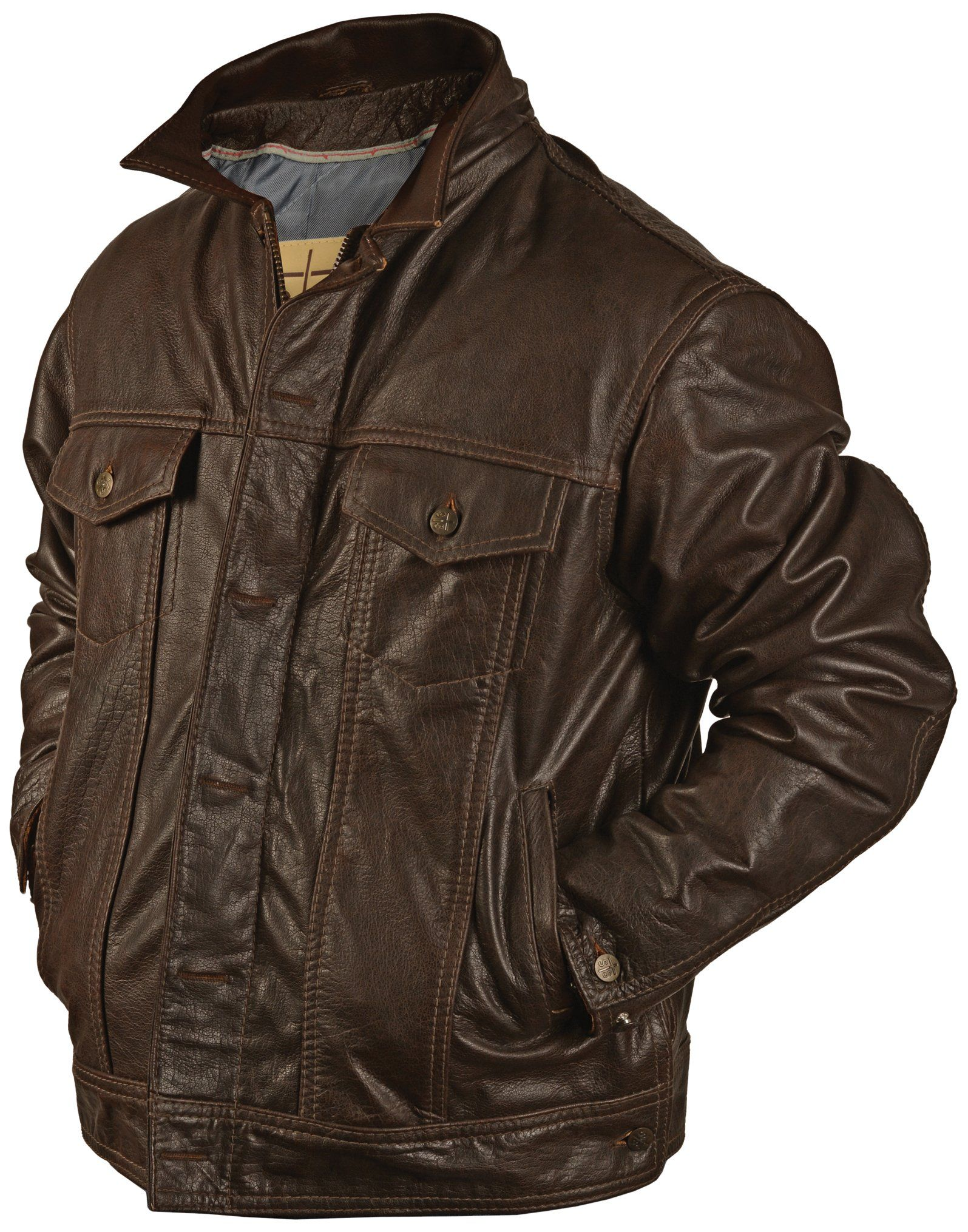 Robot Check Leather Jacket Brown Leather Jacket Jackets [ 2030 x 1595 Pixel ]
