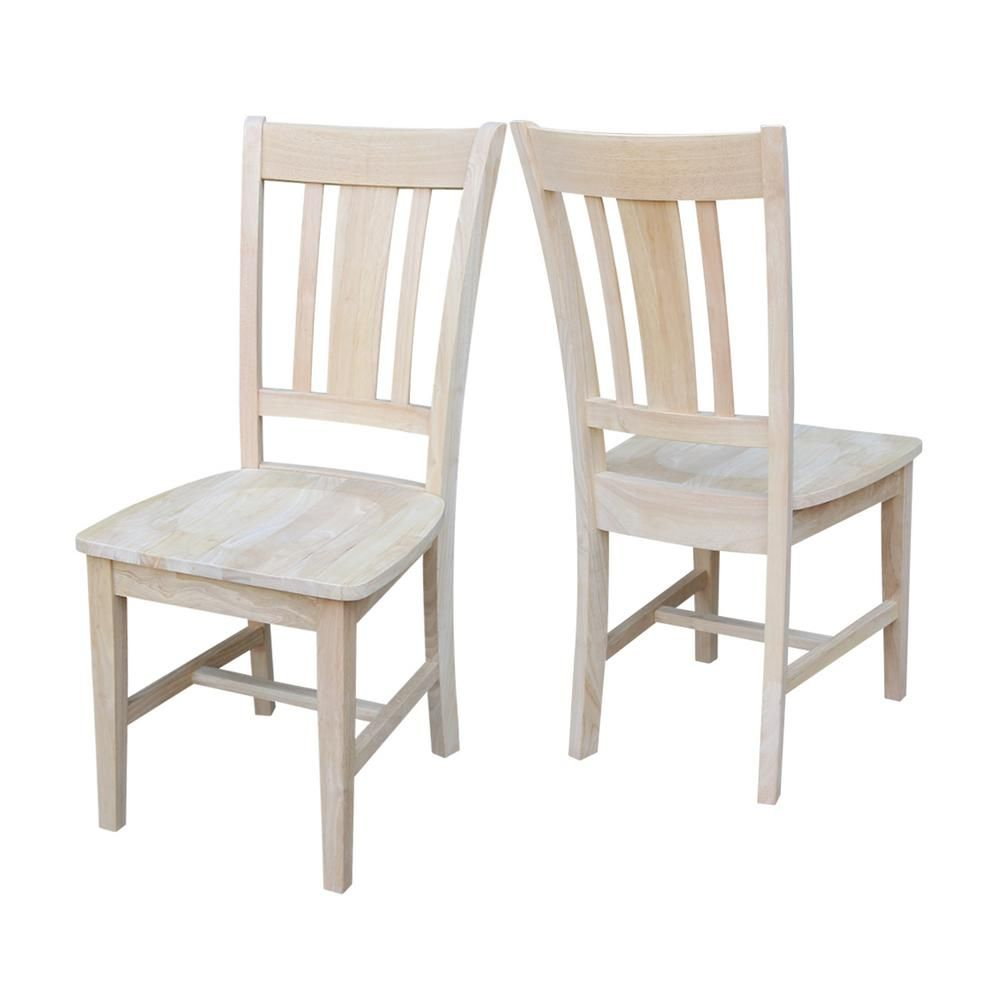 International Concepts San Remo Unfinished Wood Slat Back Dining Chair Set Of 2 C 10P