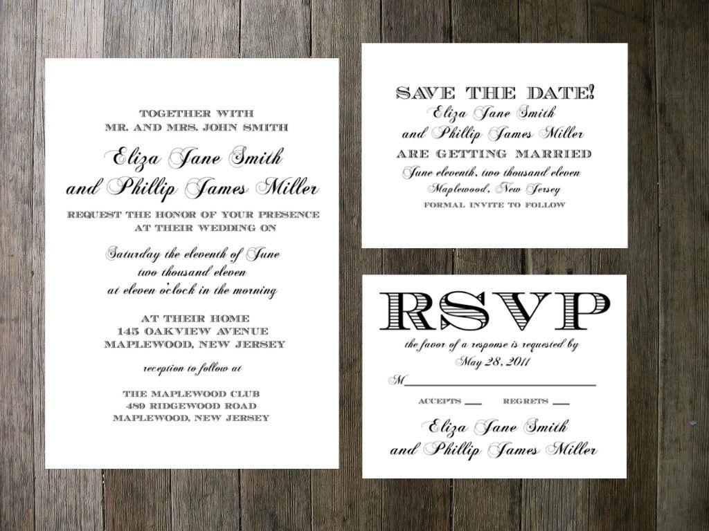 Printable Wedding Invitation Simple Formal Script. 55