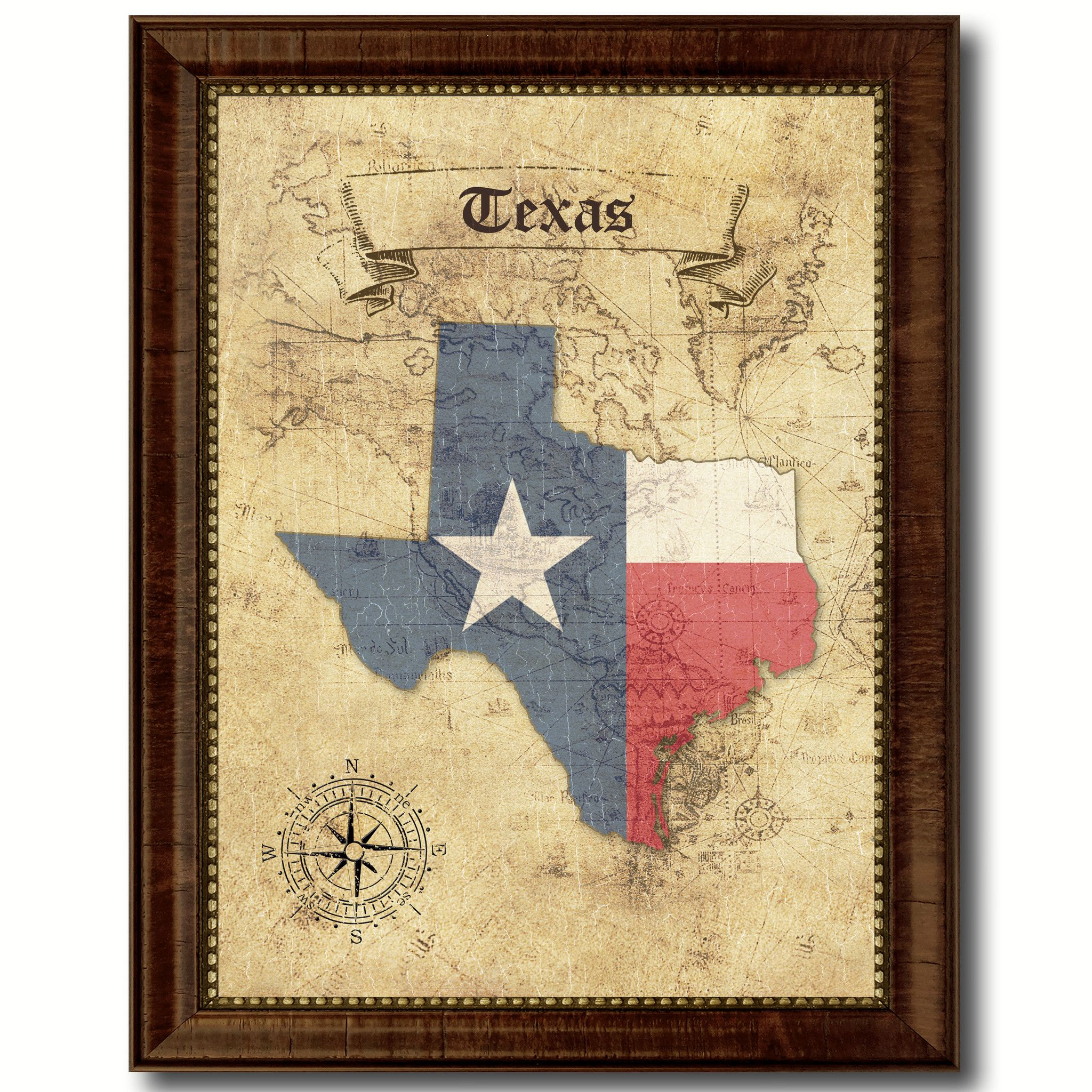 Texas State Vintage Map Home Decor Wall Art Office Decoration Gift ...