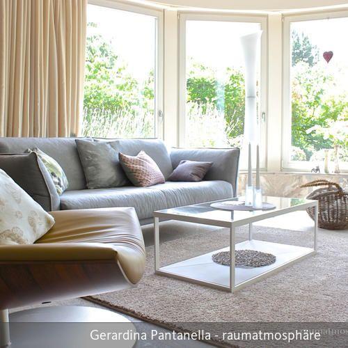 Ledersessel mit Filzstoffsofa - wohnzimmer braun beige modern