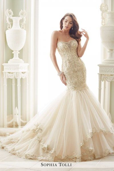 Chapel Train Sophia Tolli Y21657 Amalfi Bridal Gown Sophia Tolli Y21657 Sophia Tolli Wedding Dresses Colored Wedding Dresses Bridal Dresses