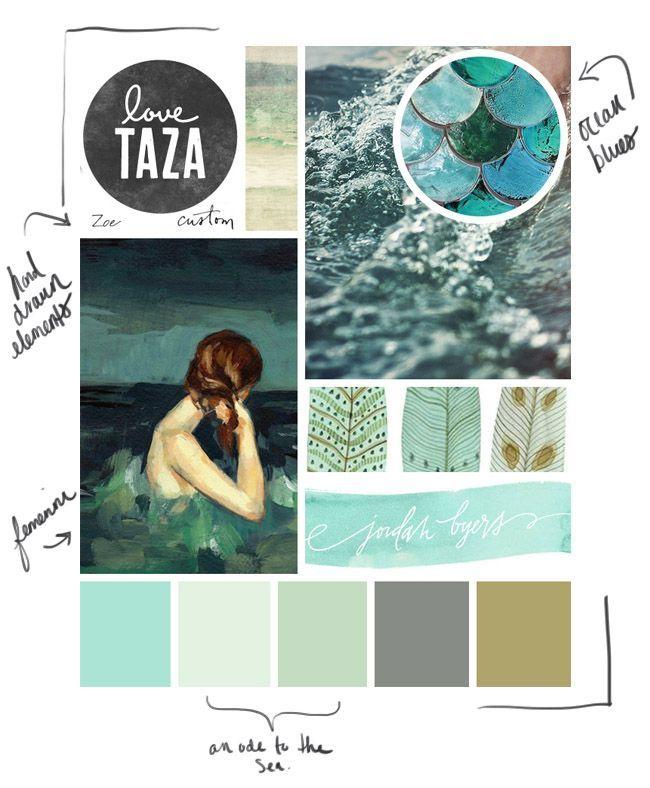Mood Board - Design Board - Ocean Hues | Color Palettes in