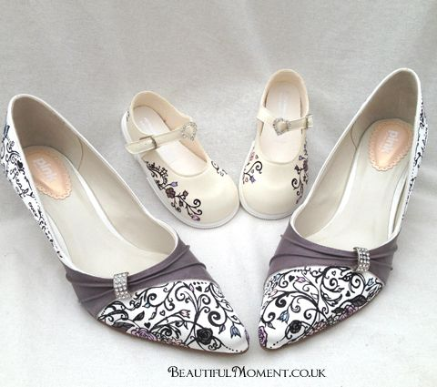 Hand Painted Wedding Shoes Mother And Toddler Matching Shoes