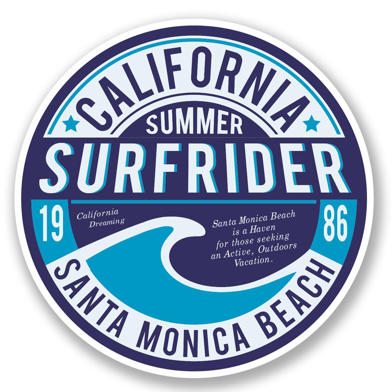 2 X 10cm California Santa Monica Beach Vinyl Sticker Luggage Travel Surf 5796 Brand Stickers Surf Shop Logos Surf Stickers [ 1500 x 1500 Pixel ]