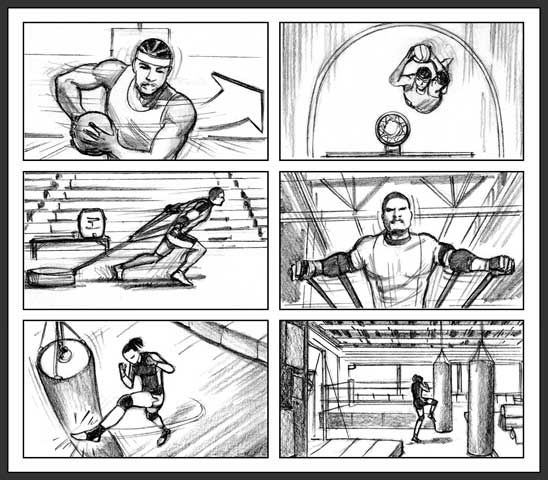 Powerade ION4 commercial Storyboard artist Bernard Custodio - commercial storyboards