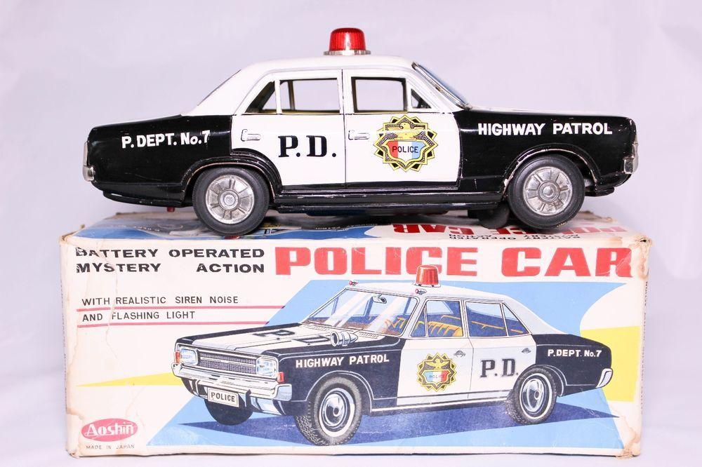 VINTAGE AOSHIN JAPANESE BATTERY OPERATED TIN POLICE CAR BOXED! #AOSHIN