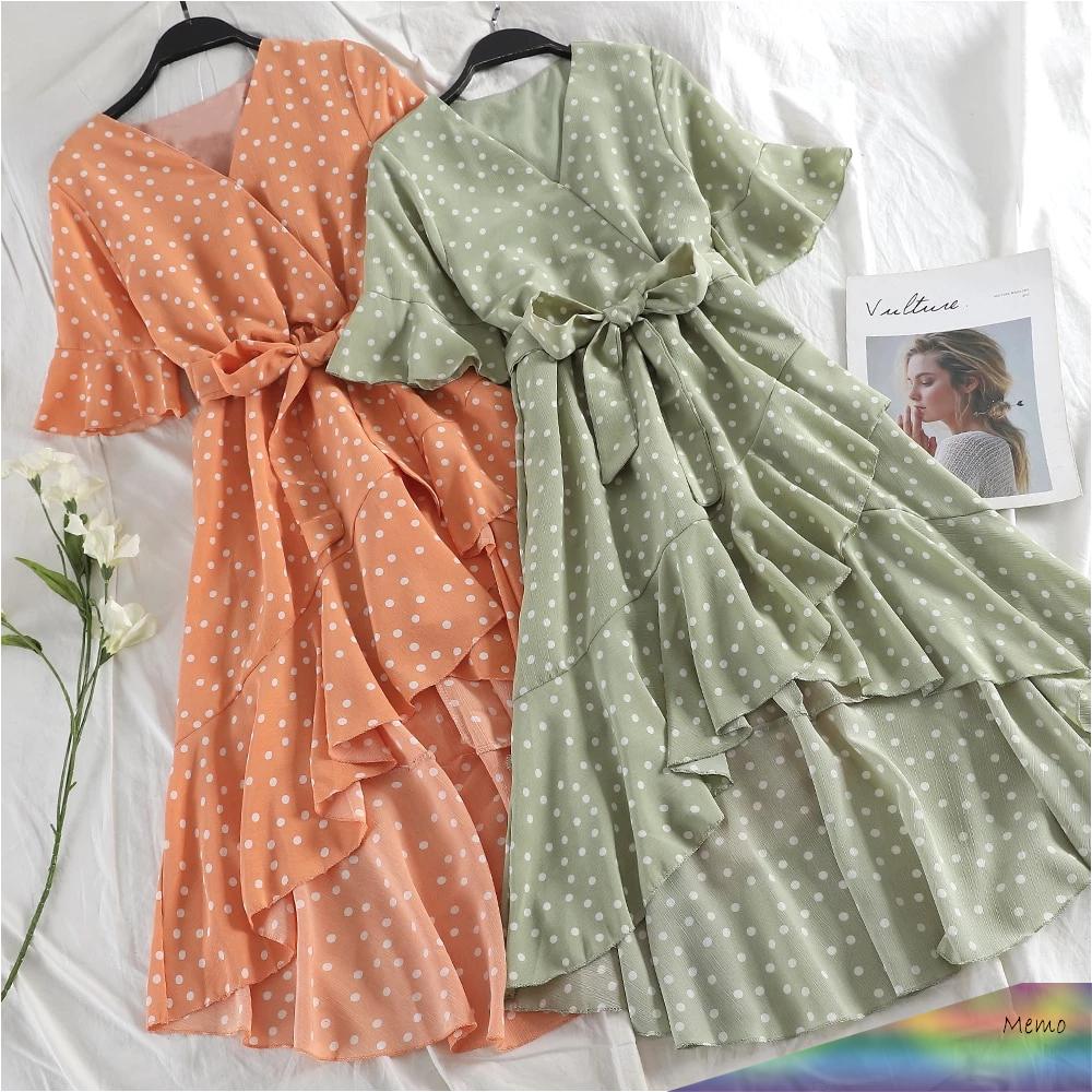 Apr 29 2020 Korean Style Polka Dot Ruffle Midi Dress A Klozetstyle Com In 2020 Kleidung Kleider Selbstgemachte Kleidung