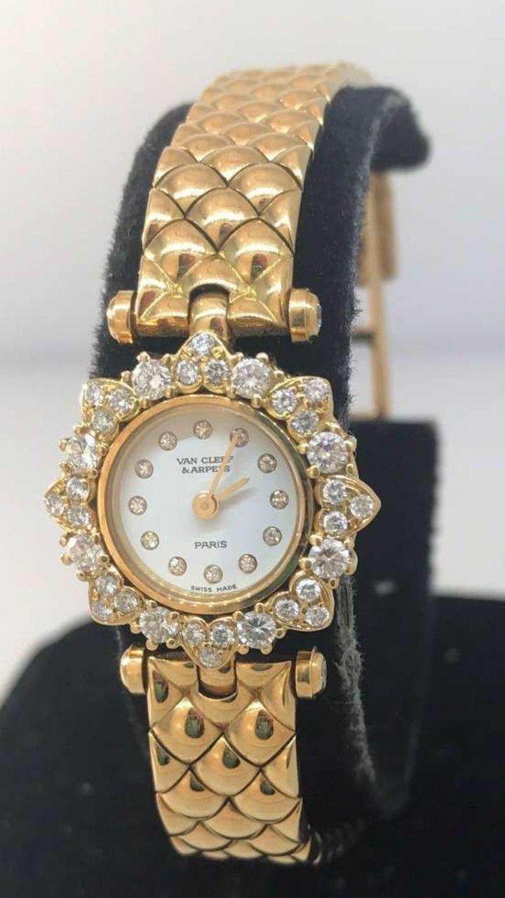 Van cleef u arpels classique yellow gold and diamond bracelet ladies