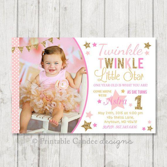 Twinkle Twinkle Little Star Invitation 1st Birthday First
