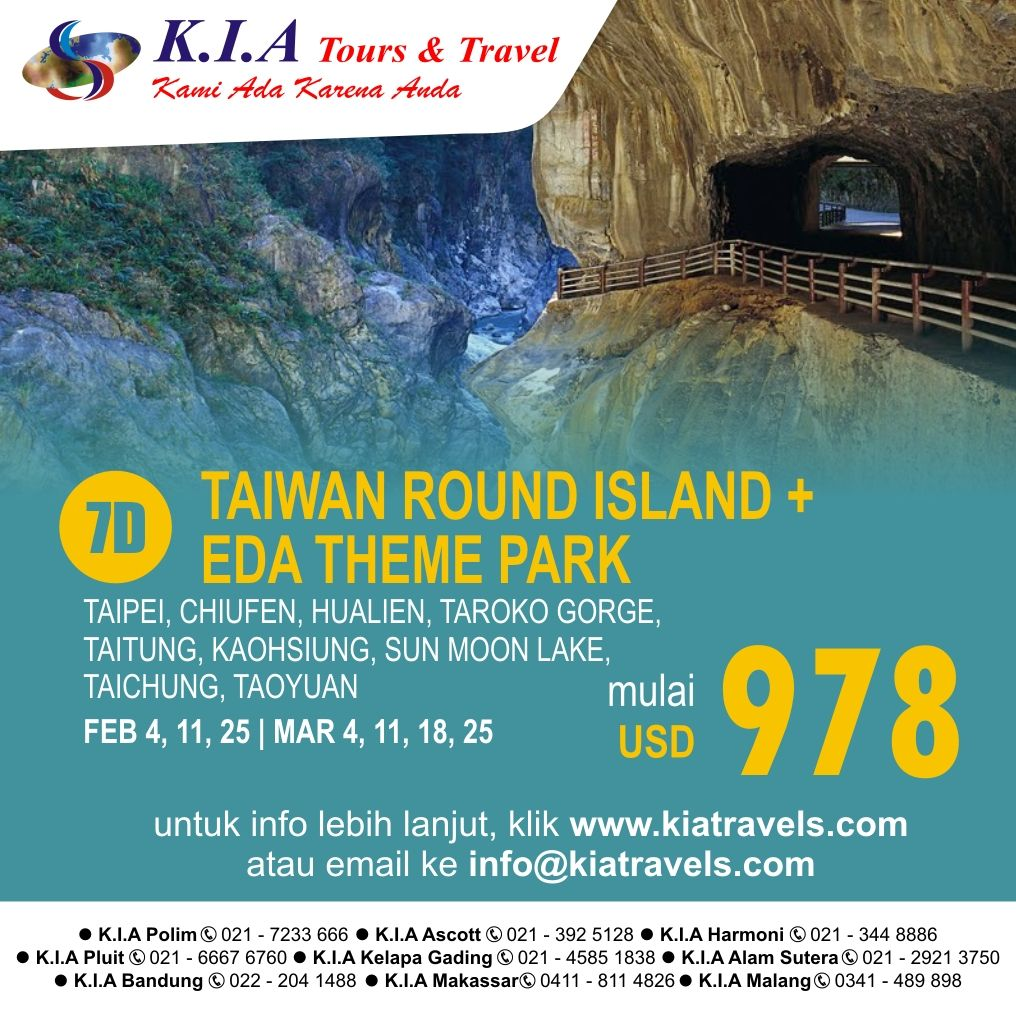 7D taiwan round island, start from USD 978, info click www