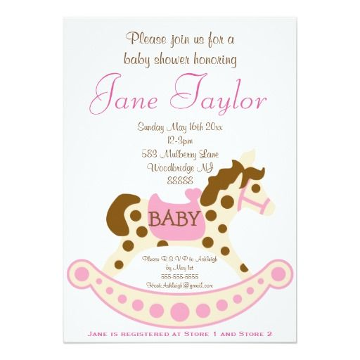 Pink Rocking Horse Baby Shower Invitations