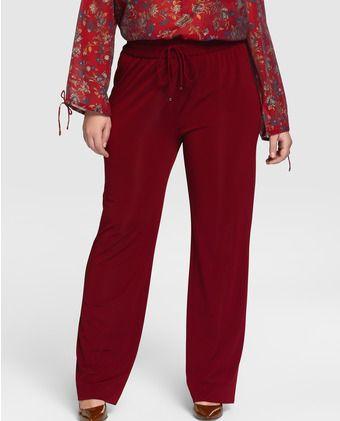 Mujer Couchel Granate Talla Fluido De Color En Grande Pantalón dxECWBoeQr