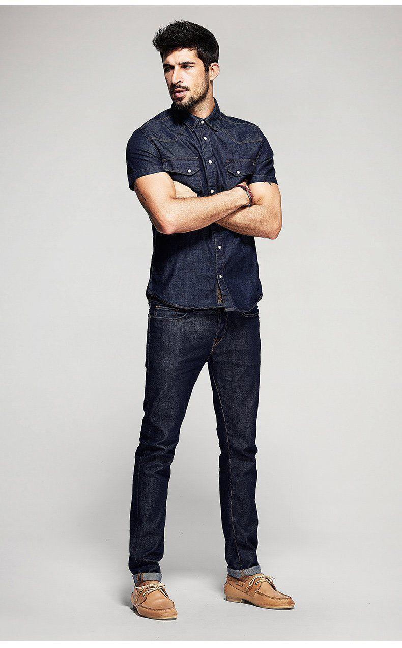 Mens denim short sleeve slim fit shirt mens fashion__cat__