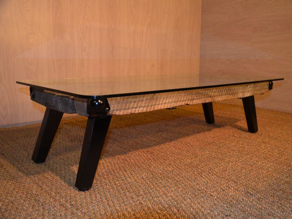 Table Basse Bois Et M Tal Plateau En Verre Upcycling Wood  # Meuble Tv Verre Et Metal