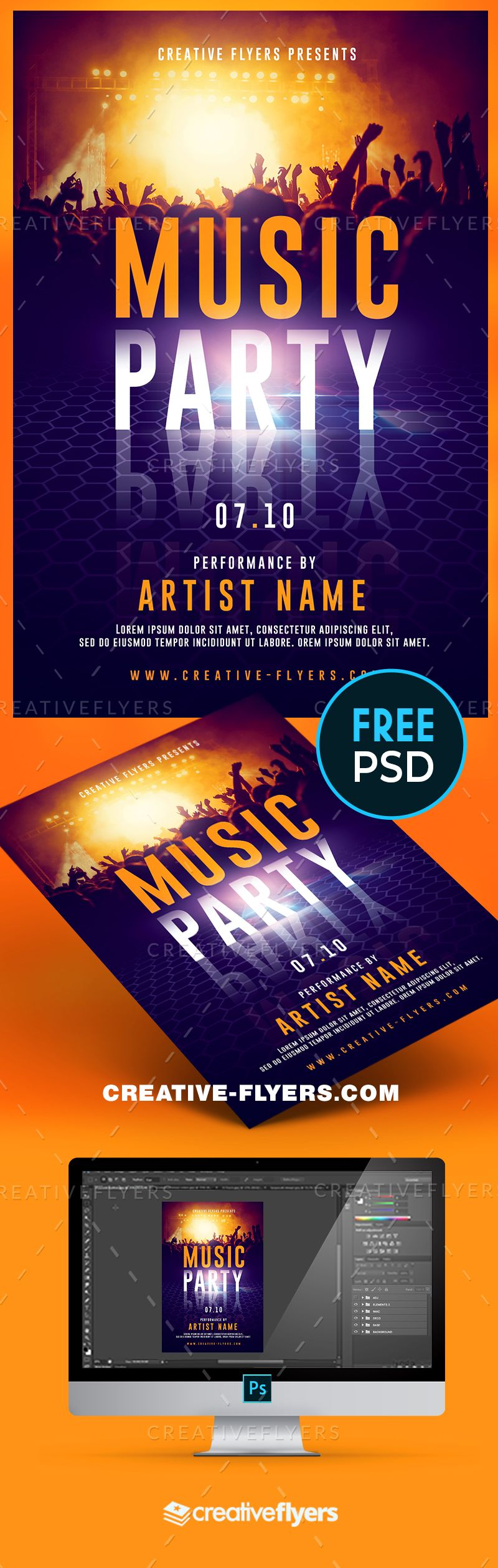 Live Music Party Flyer Psd | Photoshop - Creative Flyers ...