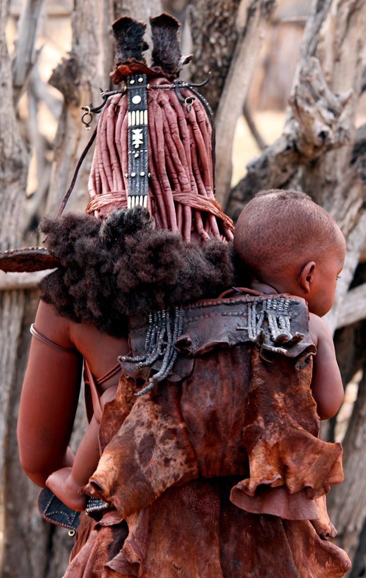 Africa | Himba mother and child. Kunene, Namibia NEGRITOS Negro black beauty beautiful afro