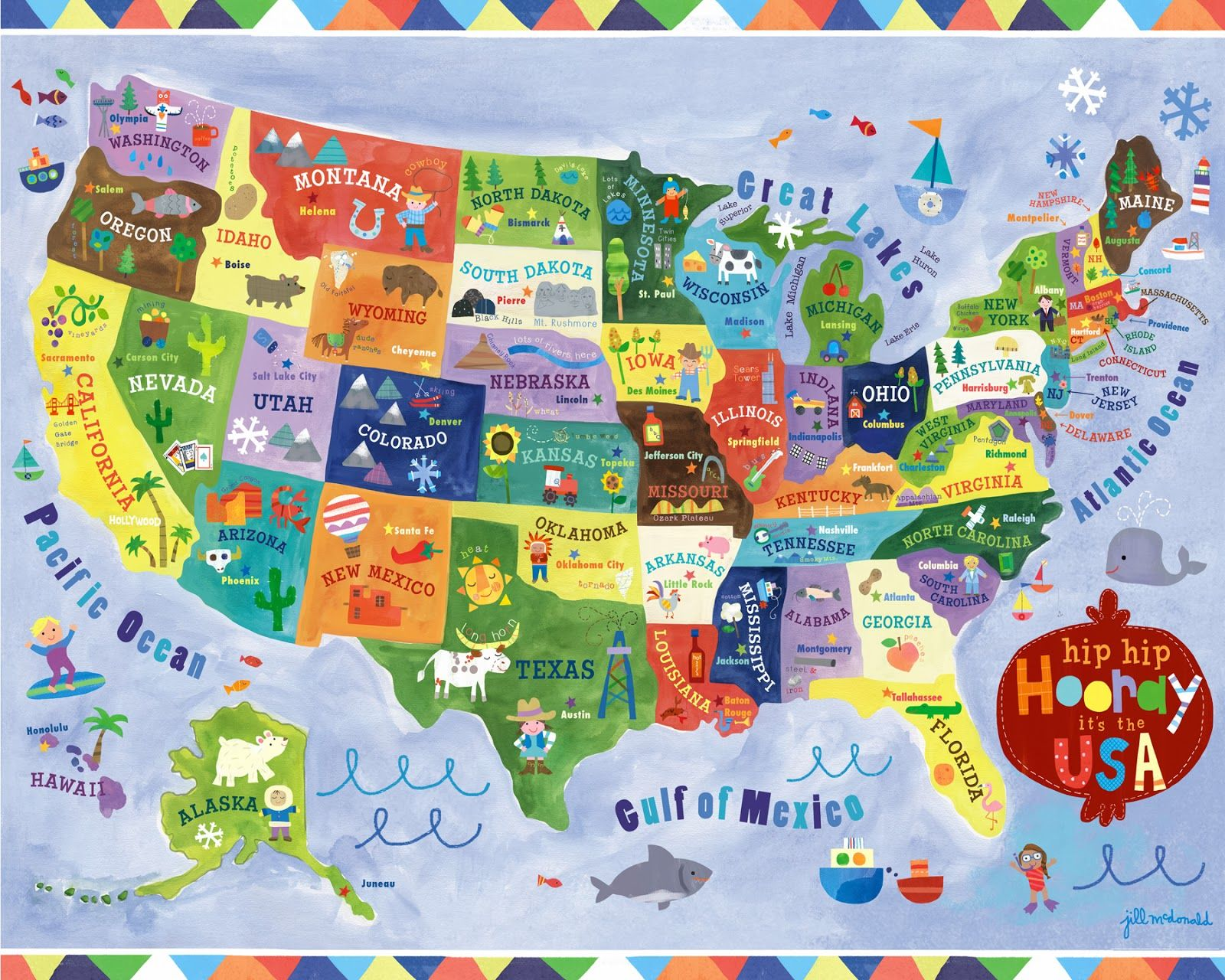 Hip Hip Hooray Its The USA Map By Jill McDonald Illustrations - The usa map