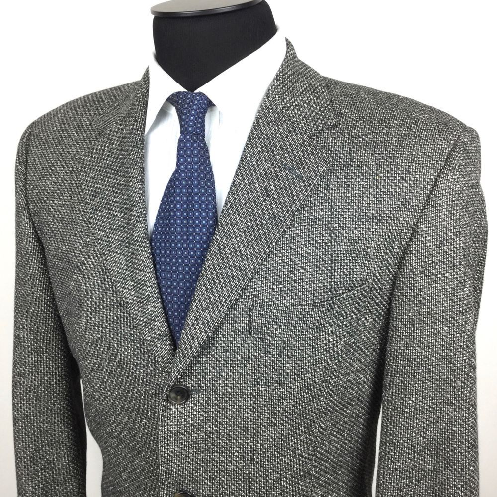 HUGO BOSS Einstein Men's 40R Gray Tweed 3-Button Silk/Wool Sport Coat/
