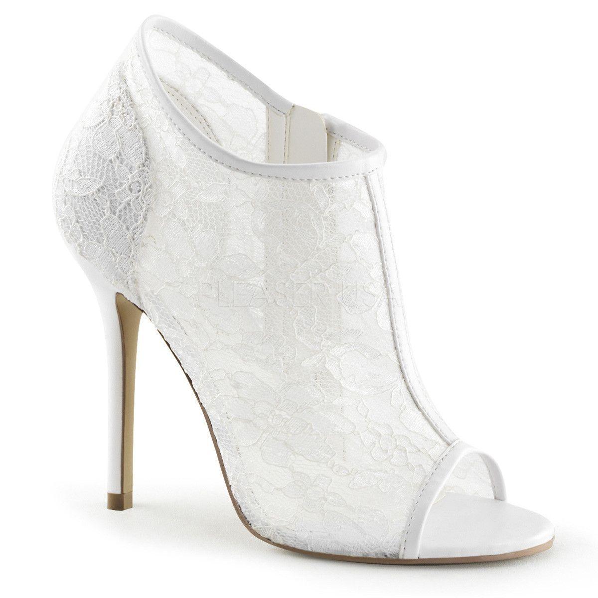 0582205e3c7 Ivory White Fabulicious Mesh Overlay Open-Toe Shoes