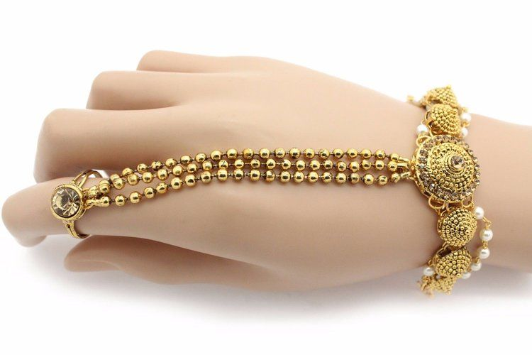 Antique Gold Indian Bollywood Hand Panja Hath Phool Hand Chain Hand Piece Indian Jewelry Jewellery Hand Bracelet With Ring Hand Jewelry Hand Chain Bracelet