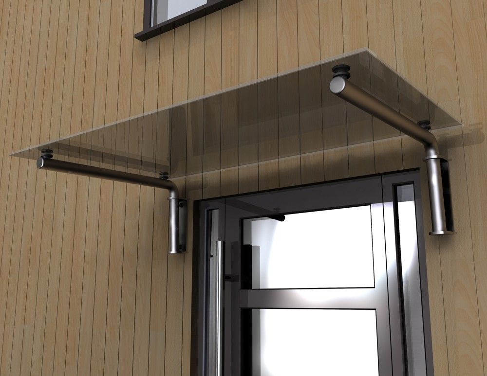 toughened glass door canopy with powdercoated steel supports