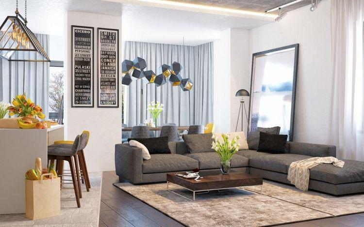 canapé d\'angle gris taupe, tapis beige, peinture murale blanc ...