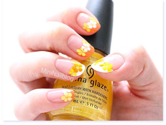 Orange Flower French Nails