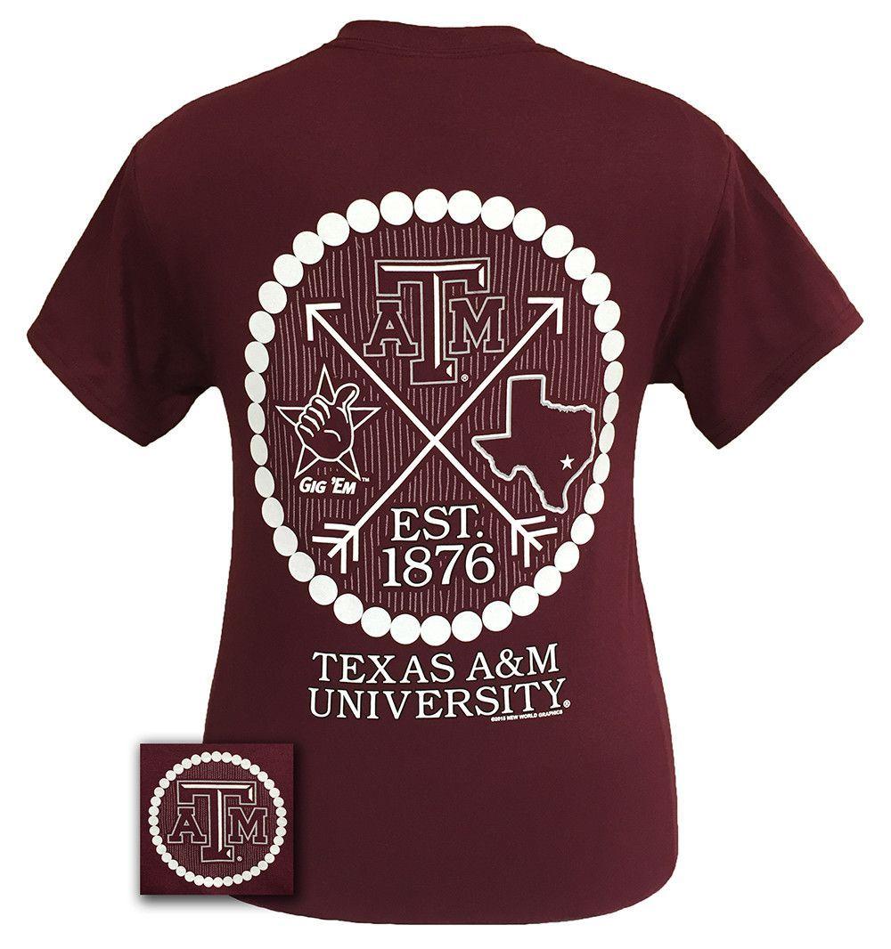 Texas A M Aggies Arrow Pearls Logo Girlie Bright T Shirt College Shirt Design Pearl Logo Spirit Shirts