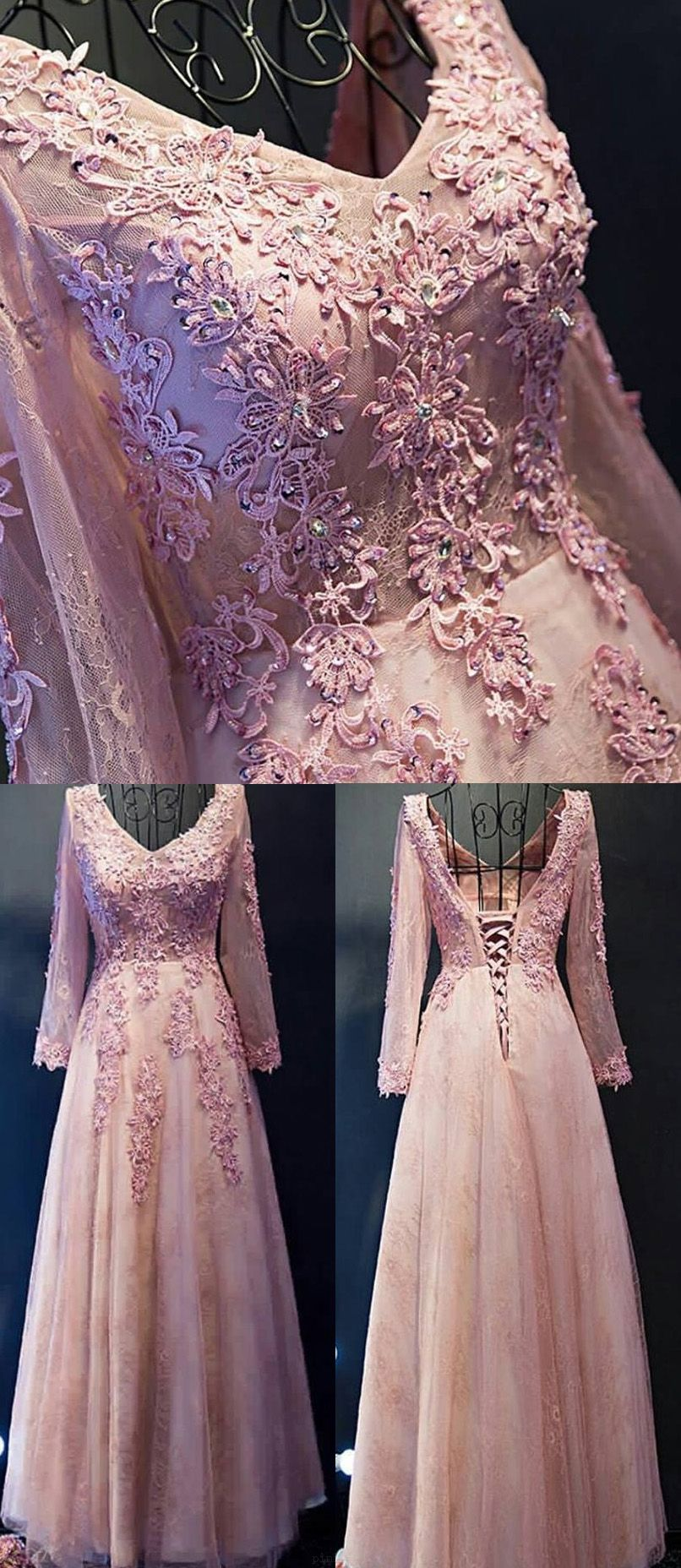Hot sale long sleeve evening prom dress long pink prom dresses with