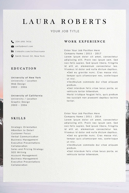 Professional Resume Design Resume Template in