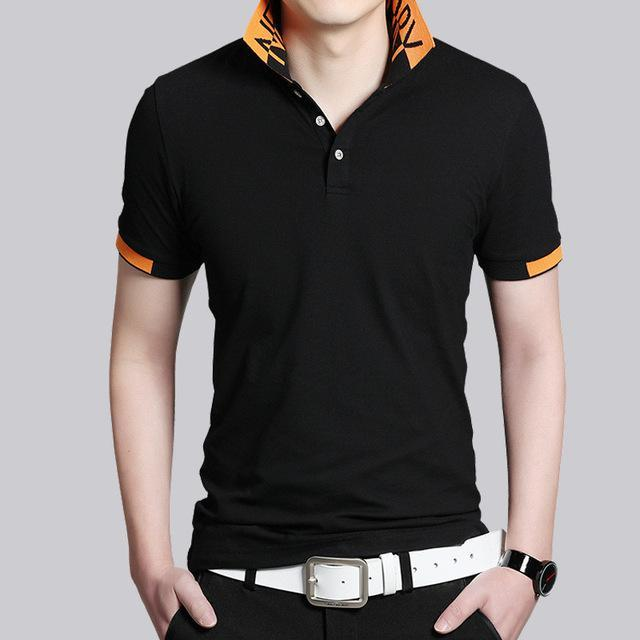 Men Polo Shirt Business Casual Buttons Men Tops Design T Shirt Solid Fashion Short Sleeve Shirt Striped Tee