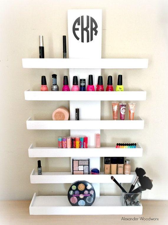 Wall Mounted Makeup Shelf   Makeup Organizer   Nail Polish Holder   Make Up  Shelf   Monogramed Makeup Organizer   Hanging Makeup Shelf