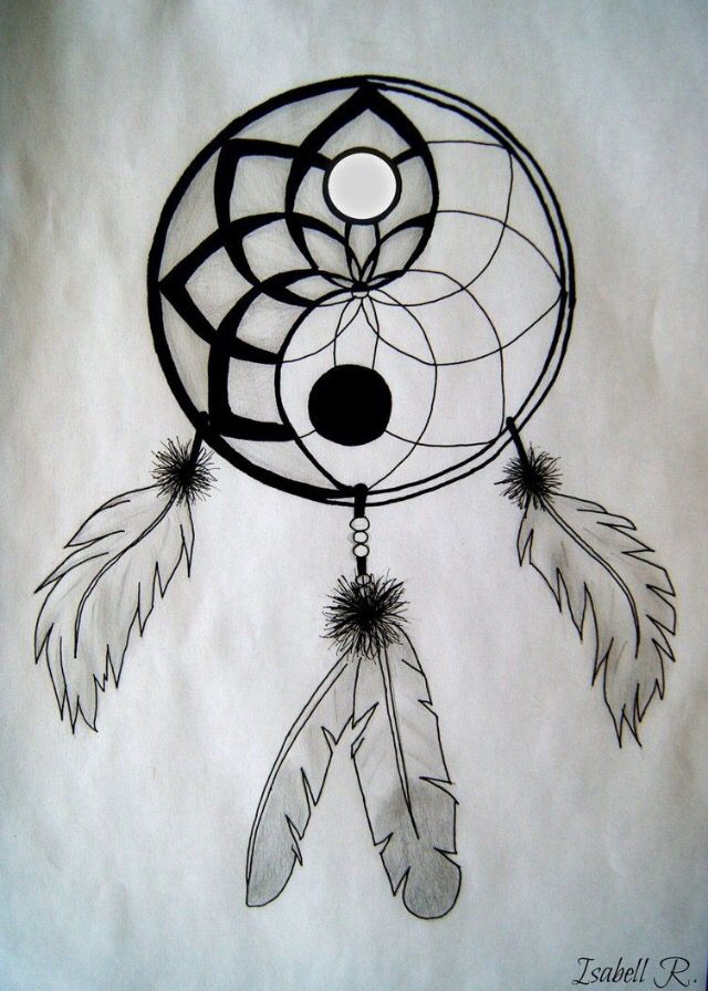 Yin Yang Dream Catcher Graffiti Pinterest Drawings Tattoos Adorable Dream Catcher Drawing Easy