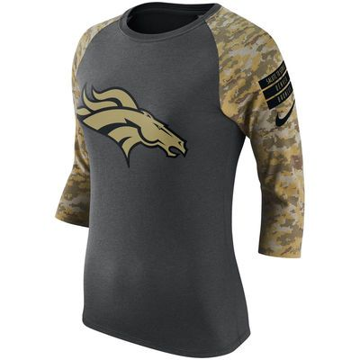 bc02240f12c Women's Denver Broncos Nike Charcoal/Camo Salute to Service Performance 3/4-Sleeve  Raglan T-Shirt