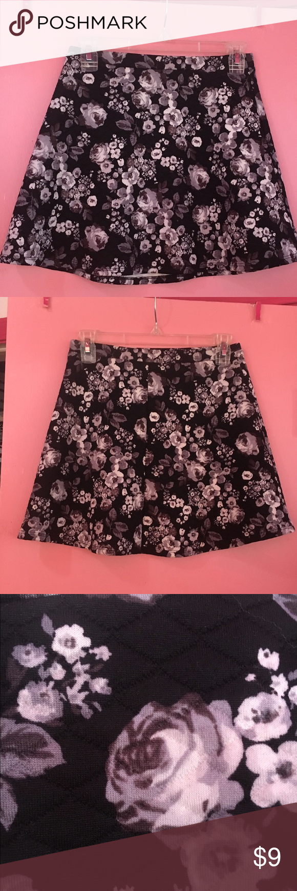 Mini Black Skirt With White Flowers White Flowers