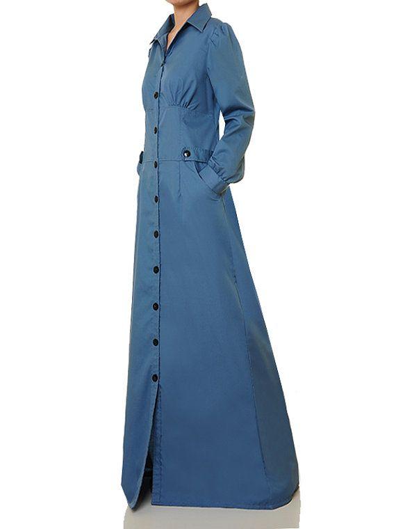 e8d41ec62c Blue Shirtdress   Abaya Maxi Dress   Shirt Dress Long Sleeve ...