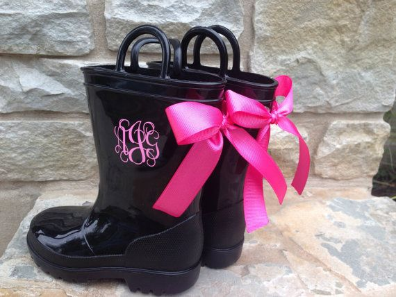 Custom Toddler Black Rain Boots with Pink Monogram and Bow | Hot ...