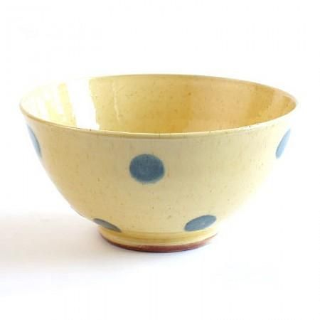Cereal Bowl Yellow With Blue Polka Dots French Coffee