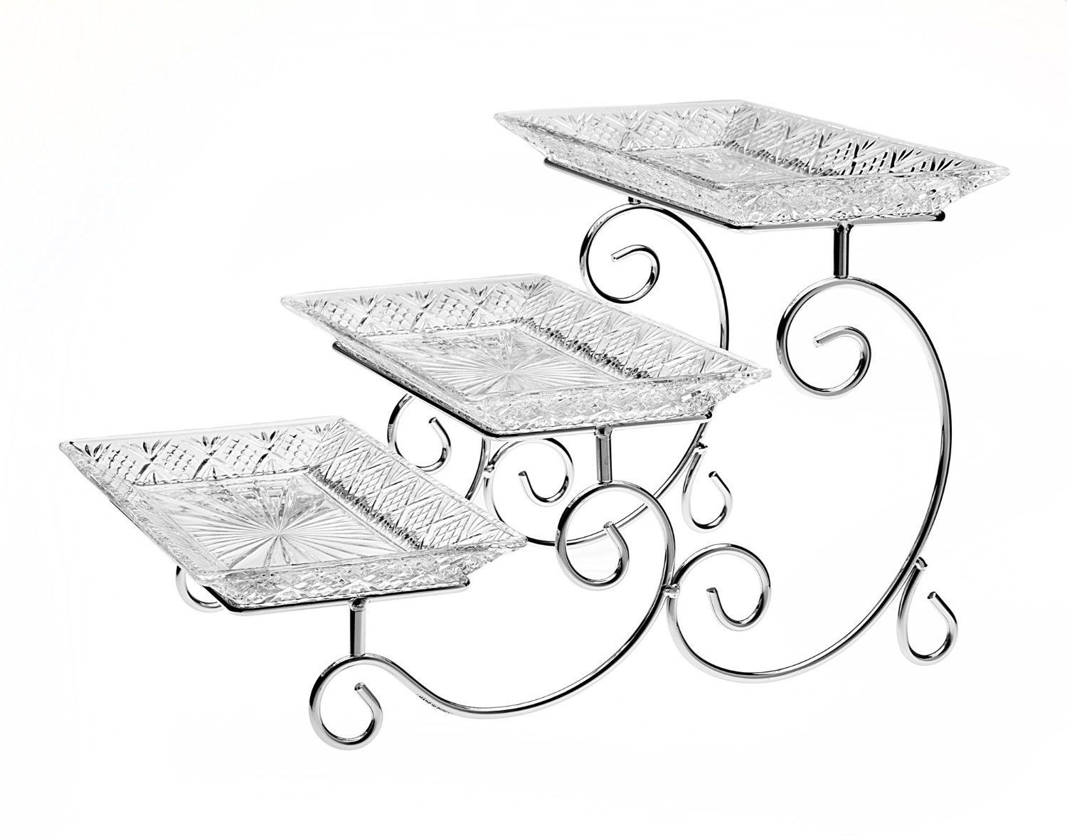 Amazon Com James Scott Crystal 3 Tier Rectangle Server Serving Trays Tiered Server Dublin Crystal Tiered Stand