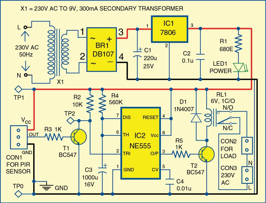 Motion Detector Using Ne555 Timer Elektronika Pinterest Clock Circuit Page 5 Meter Counter Circuits Nextgr This Is Based On A Passive Infrared Pir Sensor Which Automatically Switches Device When Someone Comes Close To It