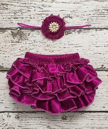 Look at this #zulilyfind! Raspberry & Plum Satin Diaper Cover & Headband Set #zulilyfinds