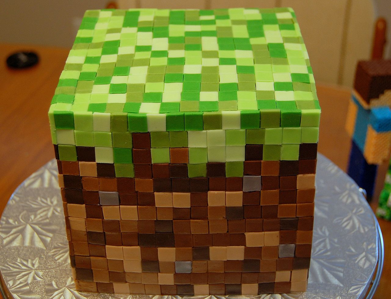 minecraft birthday cake pixel art